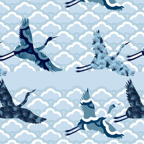 Patterned cranes chinoiserie
