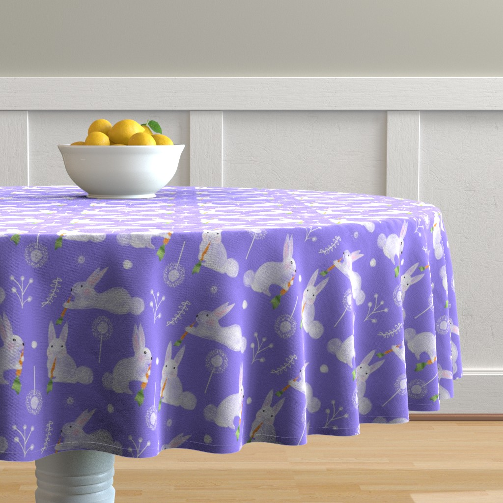 Malay Round Tablecloth featuring White Flowing Flowers by colettegorgas