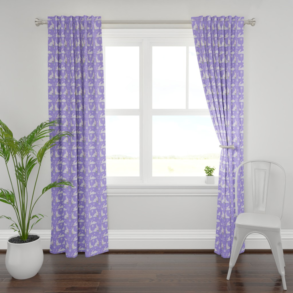 Plymouth Curtain Panel featuring White Flowing Flowers by colettegorgas