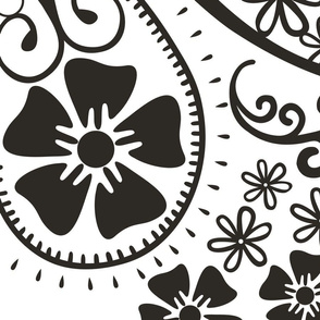Paisley Design with Flowers in Black and White