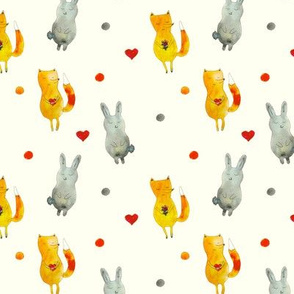 Baby fox and bunny on cream || watercolor pattern for nursery