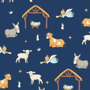 Seamless Nativity on blue