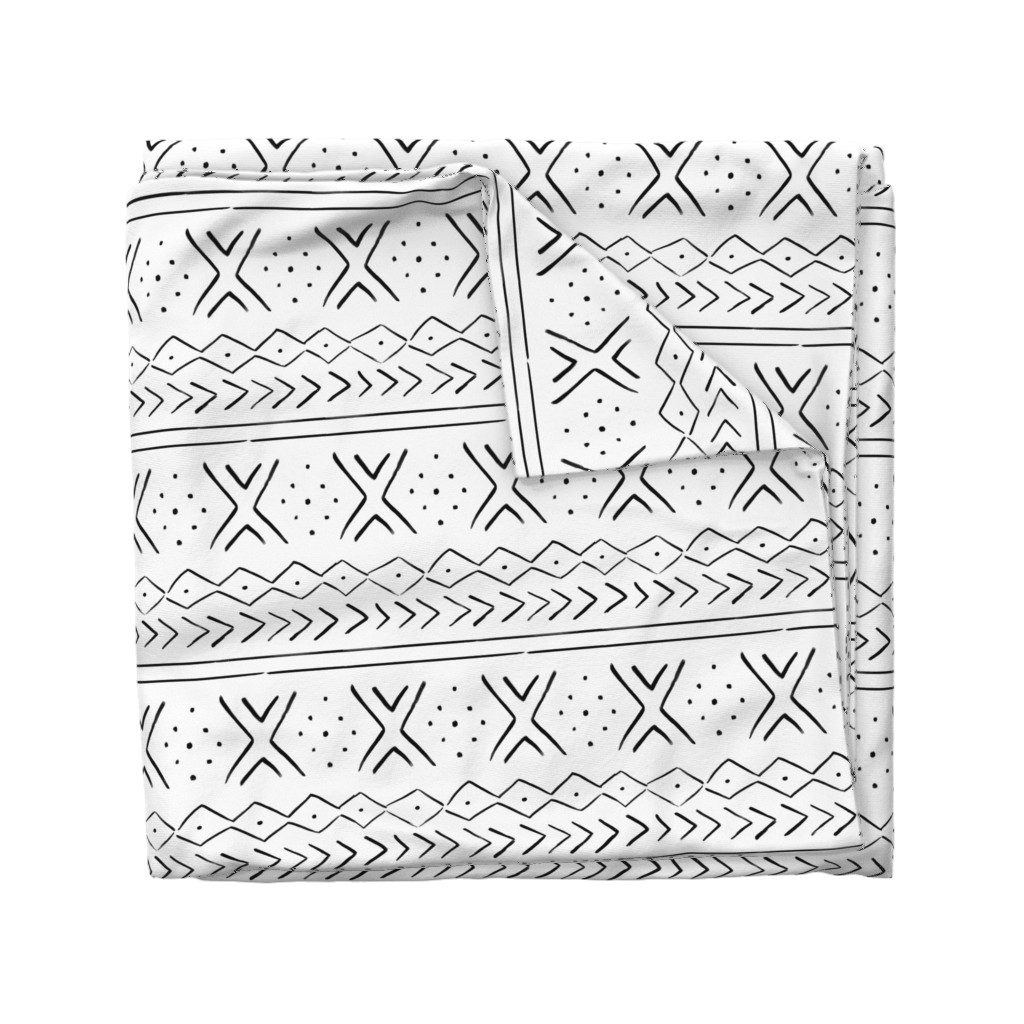 """Wyandotte Duvet Cover featuring 10.5"""" Modern Mudcloth // White and Black by hipkiddesigns"""