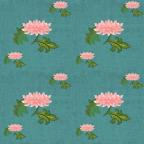 Lotus on green linen texture