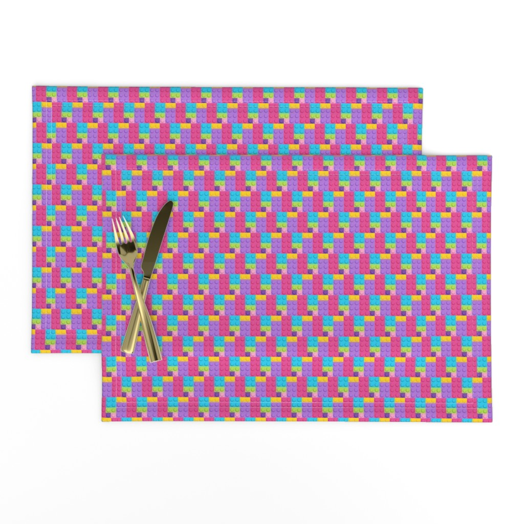 Lamona Cloth Placemats featuring Building Bricks Pastel - Small by designedbygeeks