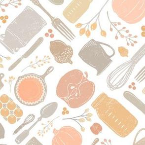 Pastel Fall Baking Vintage Kitchen Scatter // PIE, Mason Jar, Milk Jug, Pitcher, Whisk, Cast Iron Skillet, Silverware, Pumpkin Eggs, Apples, Acorns, Cranberries // Sing for Your Supper Modern Farmhouse Collection // Autumn Edition