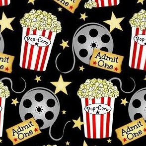 VIP Movie Night / Theater Pop-Corn   starry back on black  med -small
