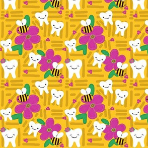 Joyful Journey -Dental Tooth Floral / 2 directional / on yellow, Bees  med - small