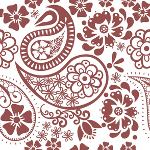 Paisley in Marsala and white background