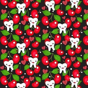Rockabilly RDH / Dental tooth Red Cherries Design Small w/ White Polk-a-Dots