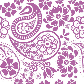 Paisley in Radiant Orchid and white background Jumbo
