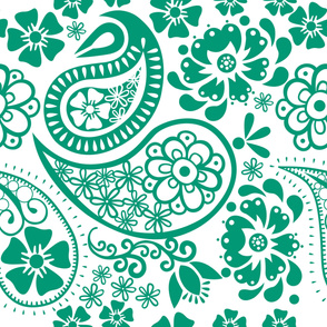 Paisley in Emerald and white background Jumbo