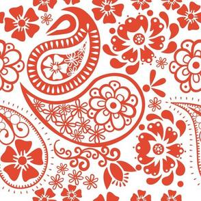Paisley in Tangerine Tango and white background Jumbo