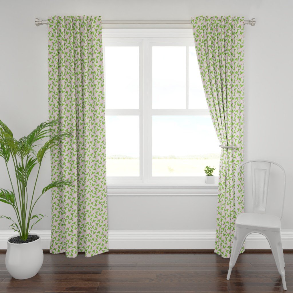 Plymouth Curtain Panel featuring Valentines cactus - light pink stripes by littlearrowdesign