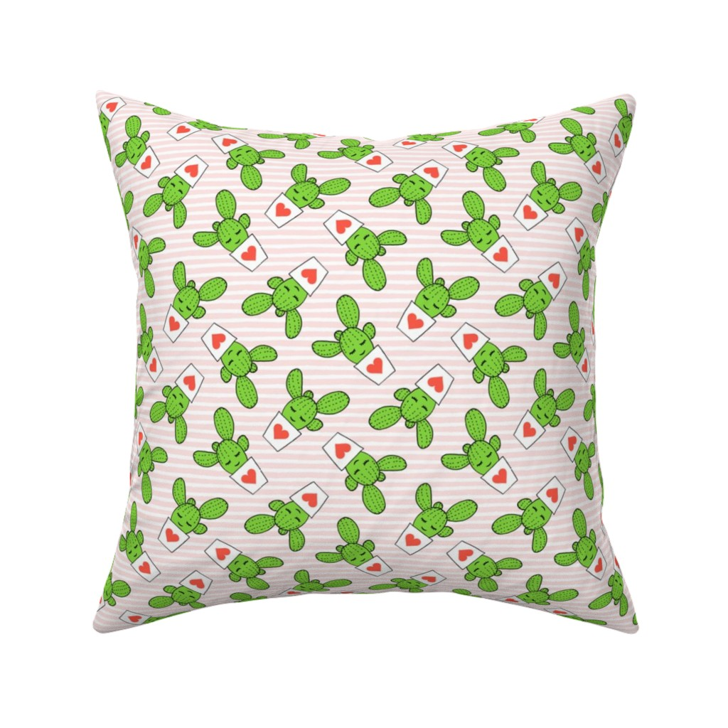 Catalan Throw Pillow featuring Valentines cactus - light pink stripes by littlearrowdesign