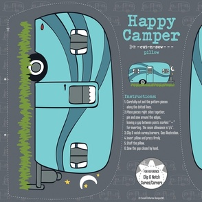 Blue Cozy Camper Cut-n-Sew Pillow