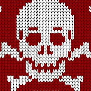 08161746 : knit skull 1x : crimson maroon