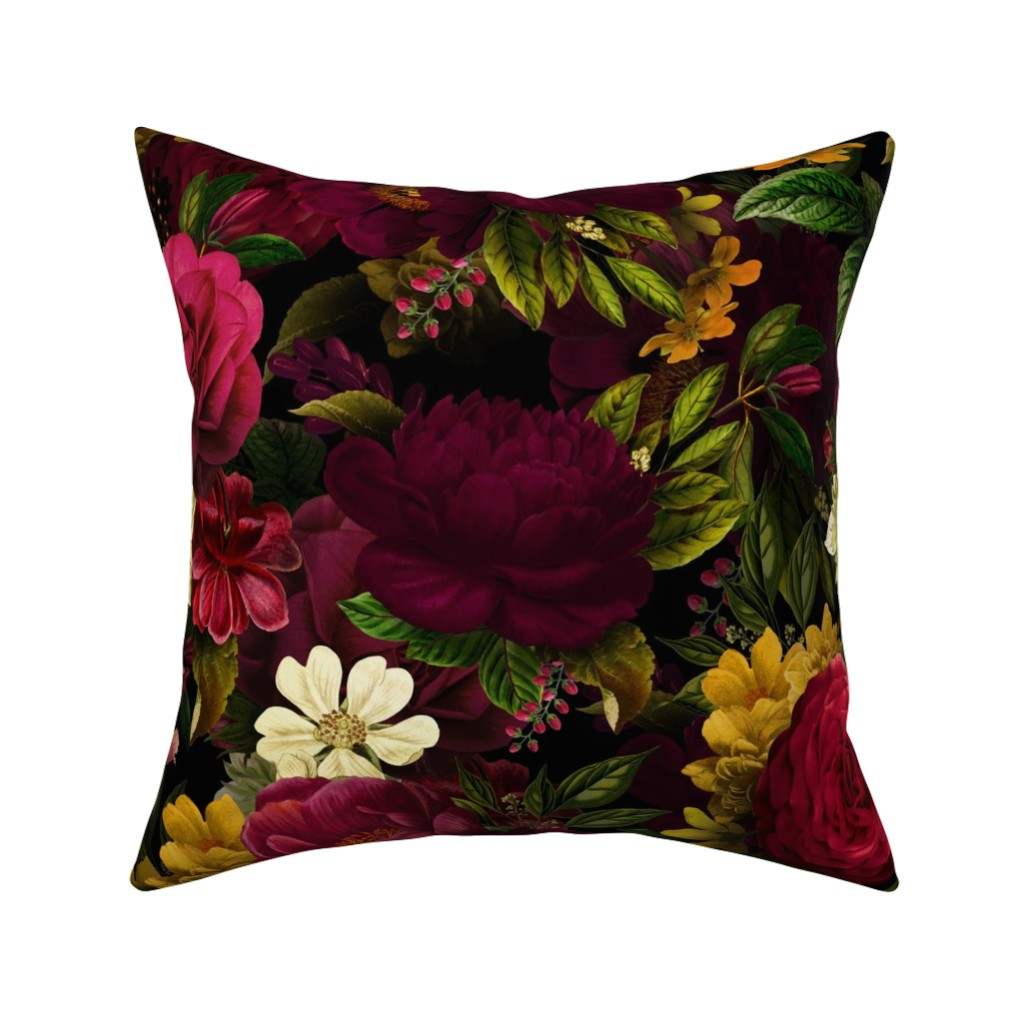 "Catalan Throw Pillow featuring 18"" Moody Florals by UtART - Mystic Night 10 by utart"