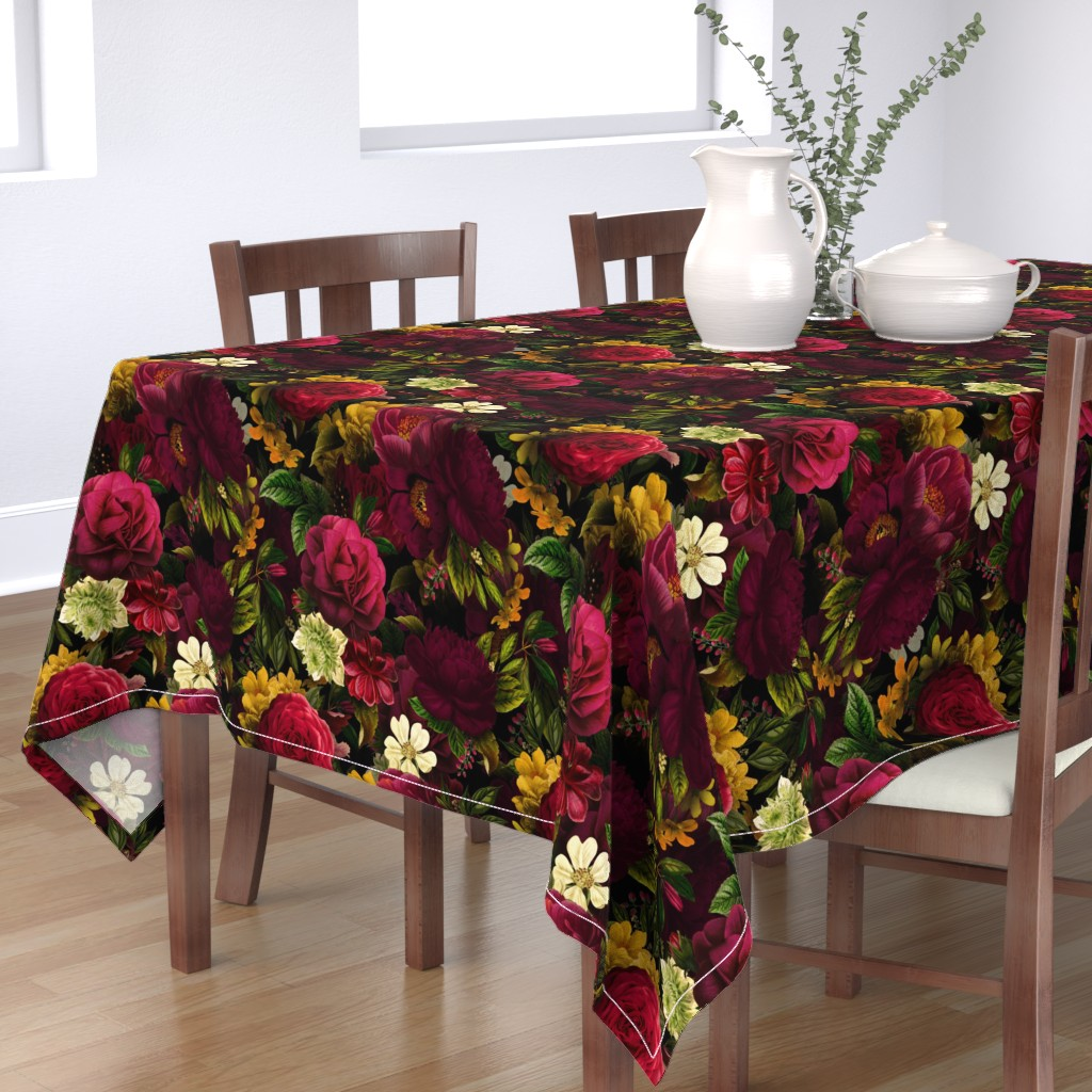 "Bantam Rectangular Tablecloth featuring 18"" Moody Florals by UtART - Mystic Night 10 by utart"