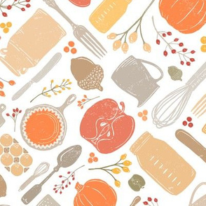 Bright + Colorful Fall Baking Vintage Kitchen Scatter // PIE, Mason Jar, Milk Jug, Pitcher, Whisk, Cast Iron Skillet, Silverware, Pumpkin Eggs, Apples, Acorns, Cranberries // Sing for Your Supper Modern Farmhouse Collection // Autumn Edition
