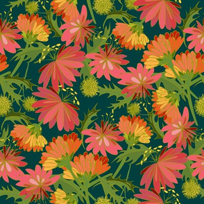 Tumbled Marigolds Forest Green