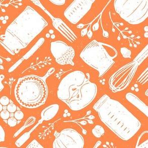 Orange + White Fall Baking Vintage Kitchen Scatter // PIE, Mason Jar, Milk Jug, Pitcher, Whisk, Cast Iron Skillet, Silverware, Pumpkin Eggs, Apples, Acorns, Cranberries // Sing for Your Supper Modern Farmhouse Collection // Autumn Edition