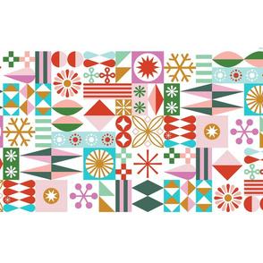Santa's Workshop Tea Towel* || geometric star stars starburst snowflake snowflakes grid christmas holiday stripes cut and sew diy kitchen