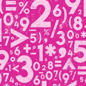 Hot Pink Textured Numbers + Symbols // STEM, STEAM, Math, Science, Engineering Education