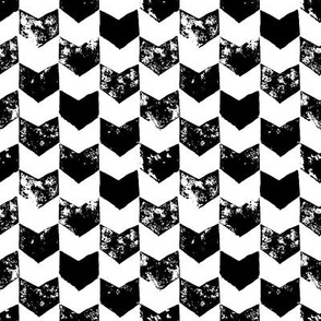 Black and white distressed chevron