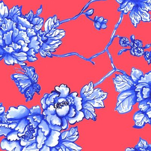 chinoiserie floral coral