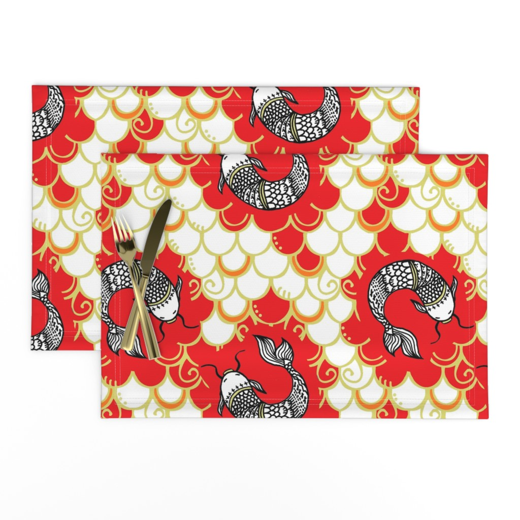 Lamona Cloth Placemats featuring Persevere /red/gold  Chinoiserie    Lg.   by franbail