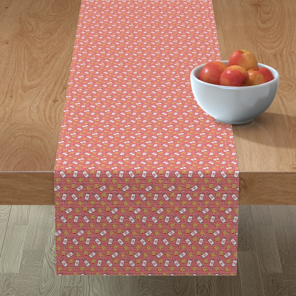Minorca Table Runner featuring (small scale) milk and cookies for santa - red stripes C18BS by littlearrowdesign