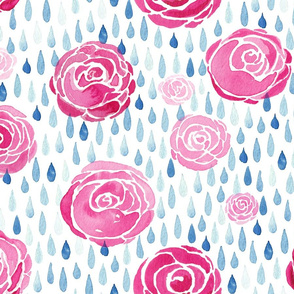 watercolour raindrops on roses white background