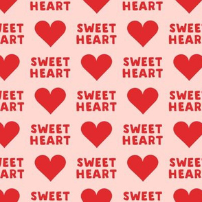 sweet heart - valentines- red on pink