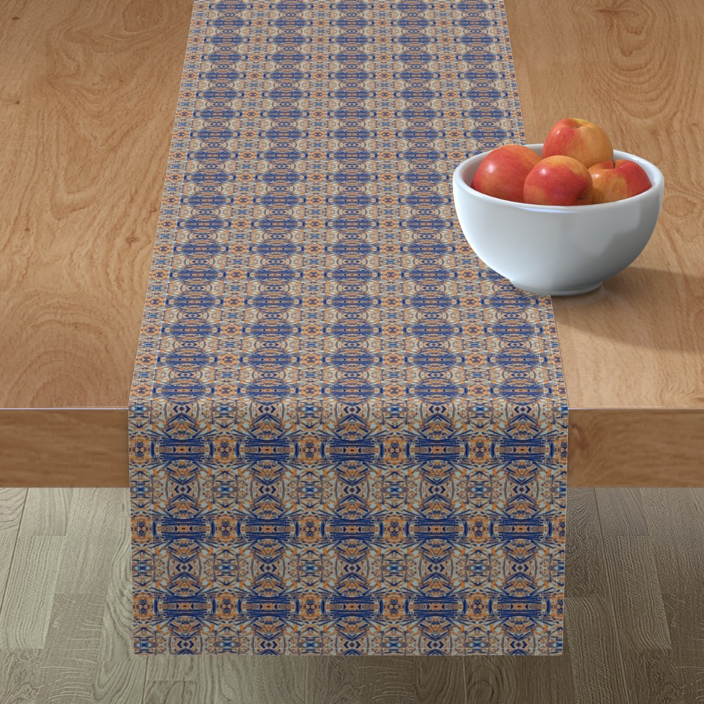 Minorca Table Runner featuring Blue and Orange Coral by olivemlou