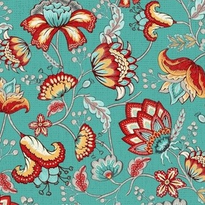 Red Indian Floral in Teal