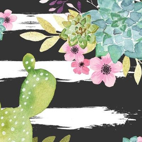cactus and flowers cactus flowers,Western Flowers,Watercolor Cactus,Cactus and floral Strips background