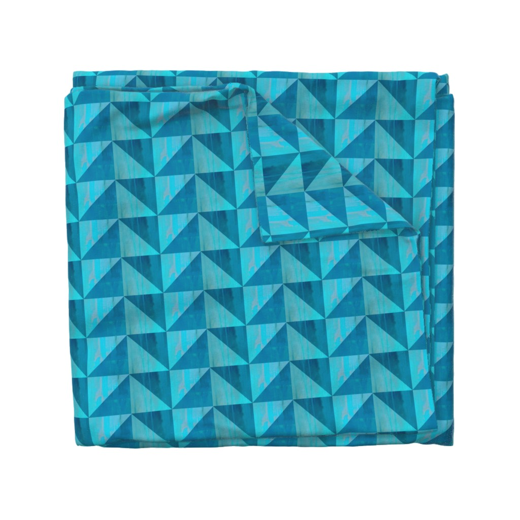Wyandotte Duvet Cover featuring Blue triangle pattern by magentarosedesigns