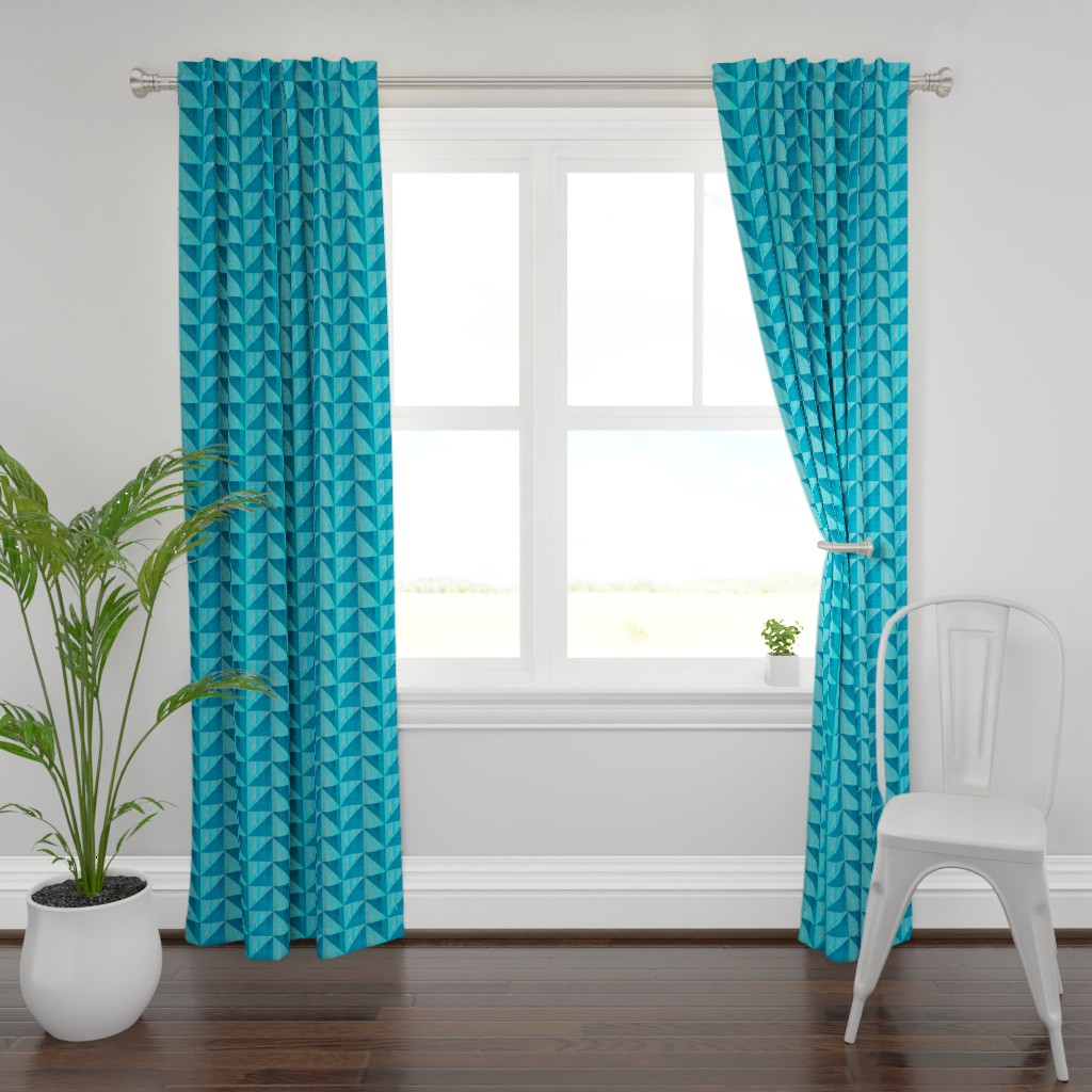 Plymouth Curtain Panel featuring Blue triangle pattern by magentarosedesigns