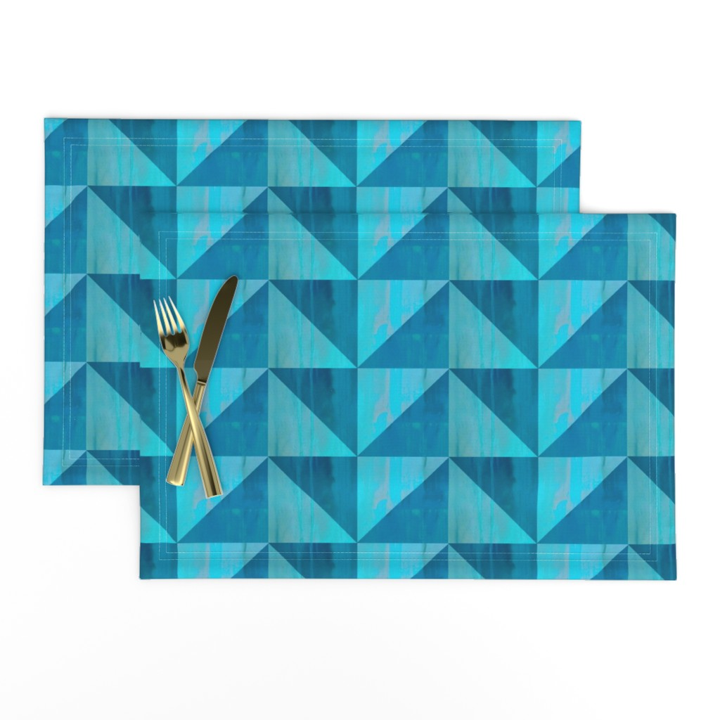 Lamona Cloth Placemats featuring Blue triangle pattern by magentarosedesigns