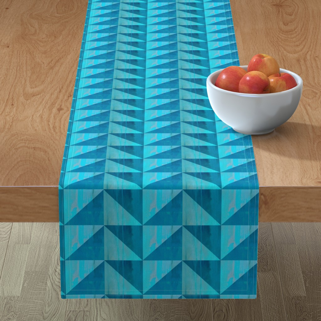 Minorca Table Runner featuring Blue triangle pattern by magentarosedesigns