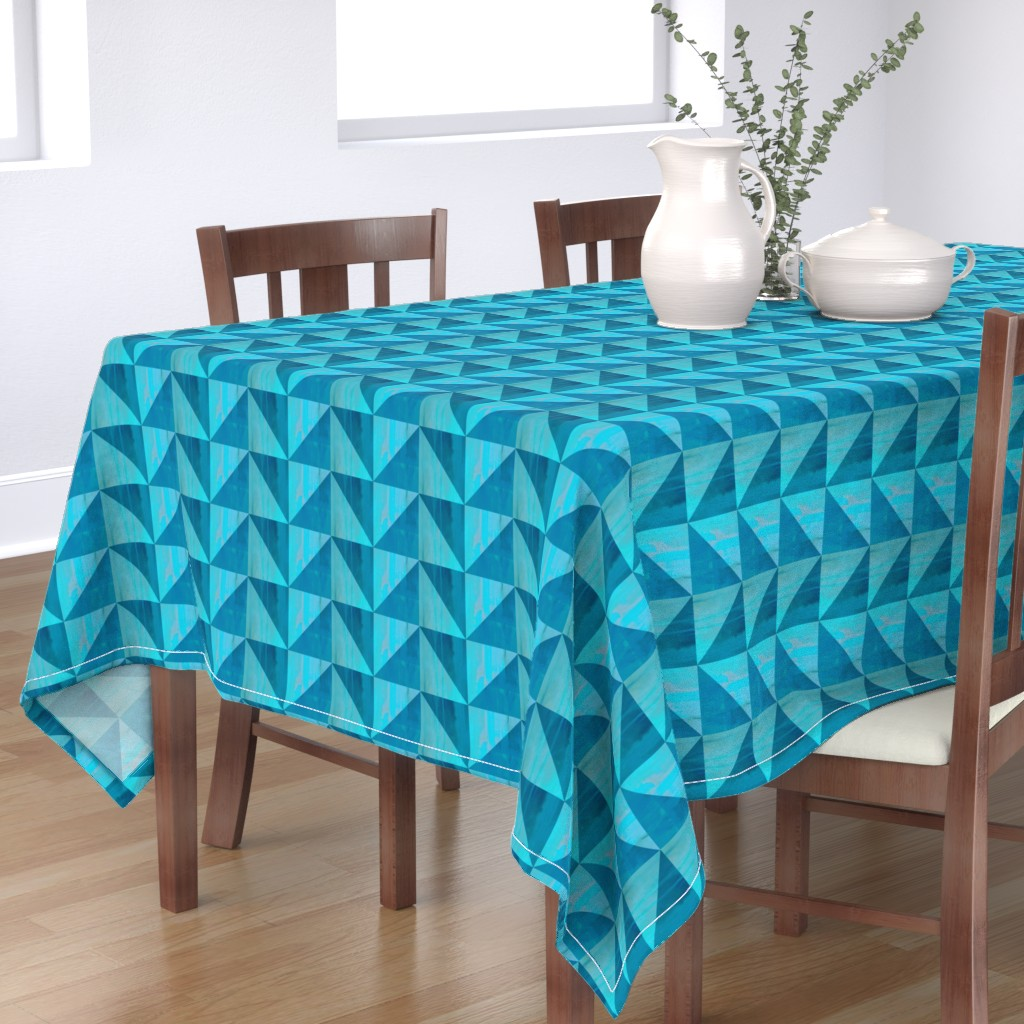 Bantam Rectangular Tablecloth featuring Blue triangle pattern by magentarosedesigns