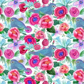 Chinoiserie peony &  bluebird floral Chinoiserie