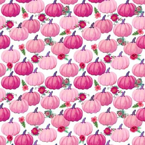 Pink Pumpkins with flowers mini size