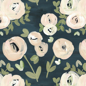 Modern Navy Blush Pink Moody Floral Nude - LARGE scale