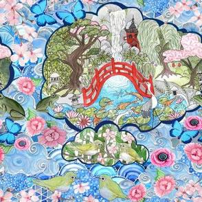 Chinoiserie Japanese Garden mini watercolor