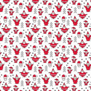 Origami decoration stars seasonal geometric december holiday and santa claus print design red black and white XS