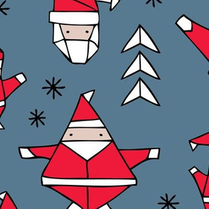 Origami decoration stars seasonal geometric december holiday and santa claus print design red black and blue JUMBO