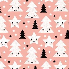 Merry christmas kawaii seasonal christmas trees and stars Japanese illustration print pastel pink Small