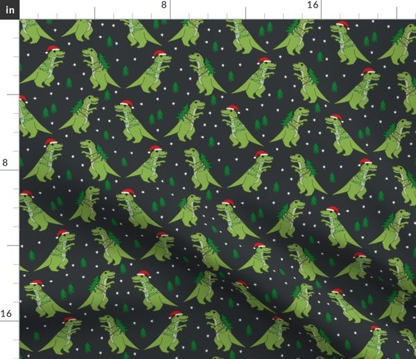 T Rex Christmas.Fabric By The Yard Christmas Fabric Dinosaur Christmas Fabric Tree Rex T Rex Christmas Funny Christmas Fabric Funny Christmas Gift Wrap